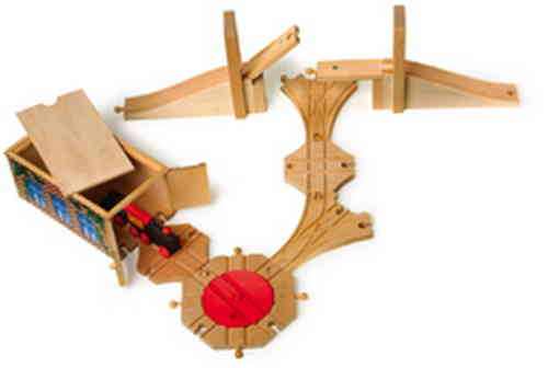 WOODEN TOY RAILWAY ACCESSORY SET SHED ,BRIDGE , ROUNDABOUT , TRACK