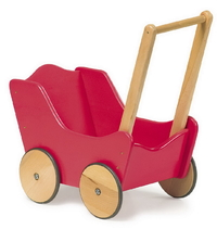 DOLL'S  TRADITIONAL TOY RED WOODEN PRAM  DISCOUNTED PRICE GIRLIE GIFT KIRKINTILLOCH