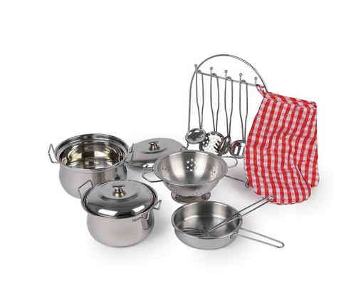 Toy  Gustav Metal Kitchen Cooking Cookware Stainless Steel  Mess Set 10 Piece Pots Utensils
