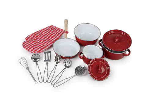 Toy Red Metal Cookware Mess Kitchen Accessory Set 4 Pots Utensils