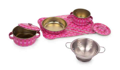 Toy  Malin Pink Metal Kitchen Cookware  Mess Set 7 Piece Pots collander seive