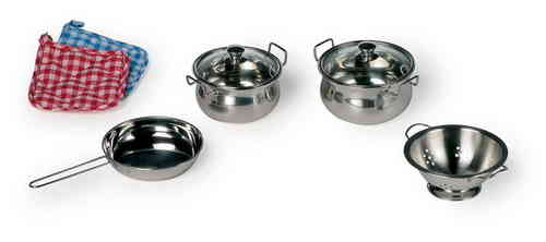 Toy Metal Kitchen Cooking Cookware Stainless Steel  Mess Set 8 Piece Pots Collander