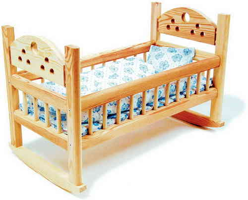 "TOY Wooden Doll's 18"" Pine Rocking Cradle Girl's Toy From Toys Extra"
