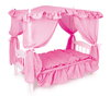 TOY Wooden Doll's 22 Inch Four Poster Bed With Pink Canopy Fairy Tale Style