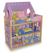 Wooden Giant Pink Doll's House Enchanting Classic Traditional Design With Furniture Room Sets