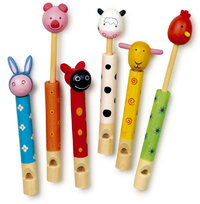 Children's Toy Set Of  6 Wooden  Animal Flutes Slide Whistles Party Bag Gift From Kirkintilloch