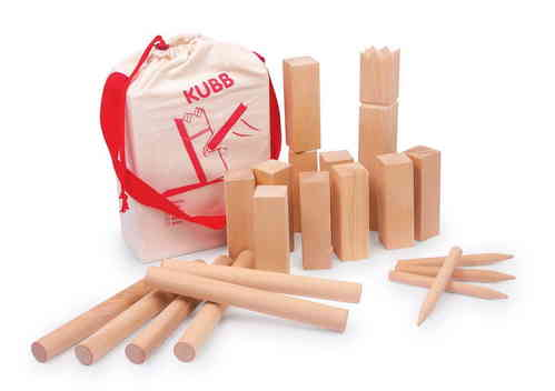 WOODEN LARGE KUBB VIKING CHESS SET 21 PIECES WITH INSTRUCTIONS AND CARRY BAG INDOOR OUTDOOR GARDEN