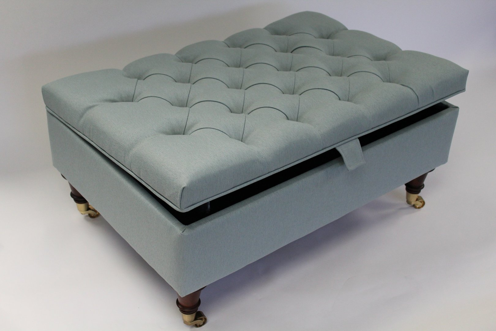 Duck Egg Blue Linen Chesterfield Upholstered Coffee Table Storage