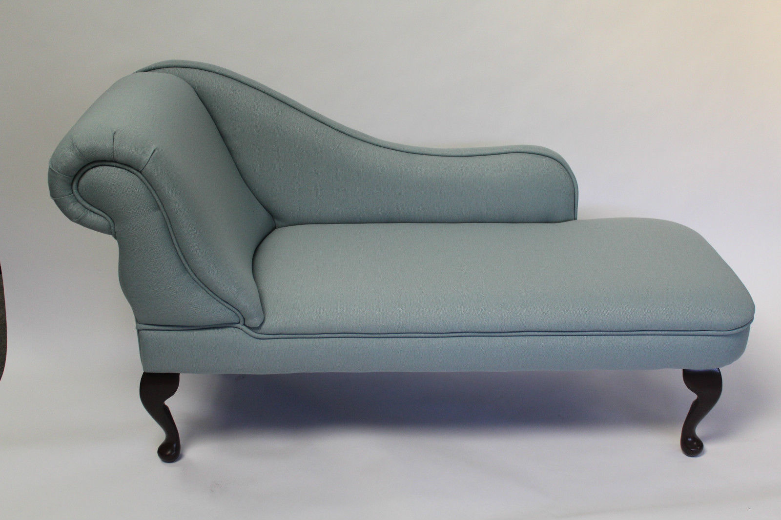 Designer Traditional Chaise Longue in Light Duck Egg Blue Linen Fabric NEW : light blue chaise - Sectionals, Sofas & Couches