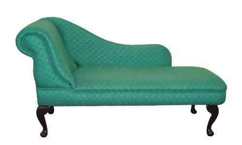 Chaise Longue in Green with small pink floral design - SALE - Simply on chaise recliner chair, chaise furniture, chaise sofa sleeper,