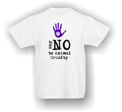 Say NO To Animal Cruelty - paw in hand. T-Shirt (Kids)