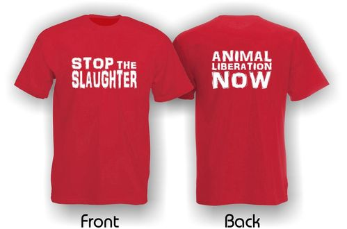 Stop The Slaughter. Animal Liberation Now. Mens T-Shirt. Red.