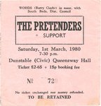 PRETENDERS, THE - Saturday 1st March 1980 GIG TICKET (EX) (D1)