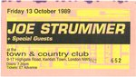 STRUMMER, JOE - Friday 13th October 1989 GIG TICKET (EX) (D1)
