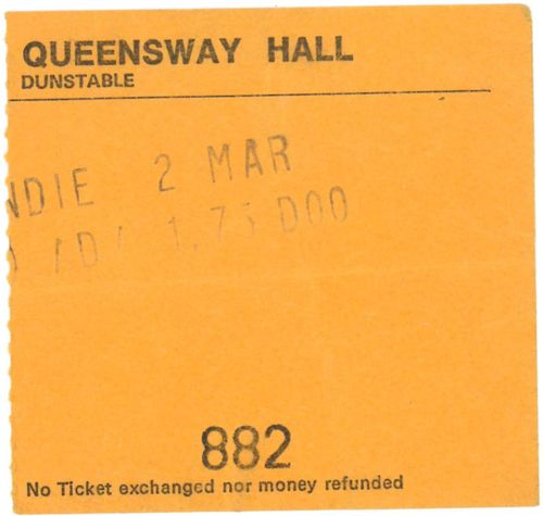 BLONDIE - 02 March 1978, Queensway Hall, Dunstable GIG TICKET (EX) (D1)