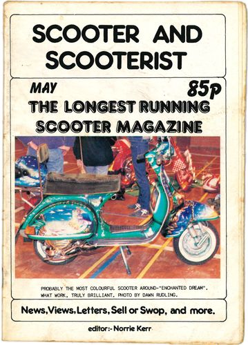 SCOOTER AND SCOOTERIST - May 1985 MAGAZINE (VG+) (G.B)