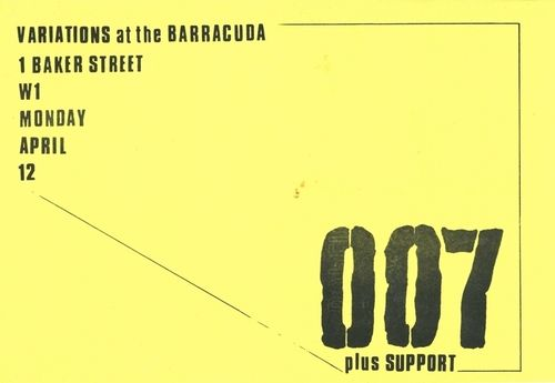 007 / THE VARIATIONS / THE SCENE - A Set Of Four Vintage Gig Flyers (EX)