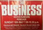 BUSINESS, THE / VICIOUS RUMOURS - 63cm x 44cm Fulham Greyhound GIG POSTER (EX)