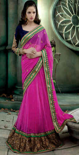 Pink Faux Chiffon and Net Lehenga Style Saree
