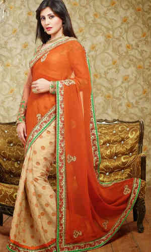 Rusty Orange And Beige Faux Georgette Saree