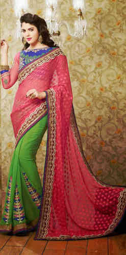 Pink And Green Faux Georgette Saree