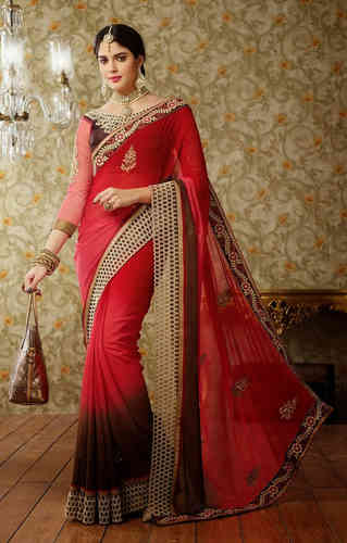 Shaded Brown and Pink Faux Georgette Saree