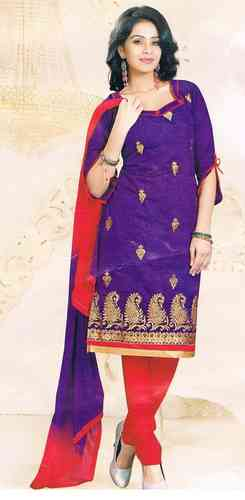 Purple & Red Cotton Embroidered Salwar Kameez Fabric