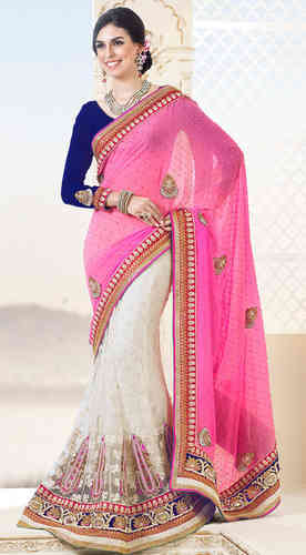 Pink Faux Georgette and Net Lehenga Style Saree