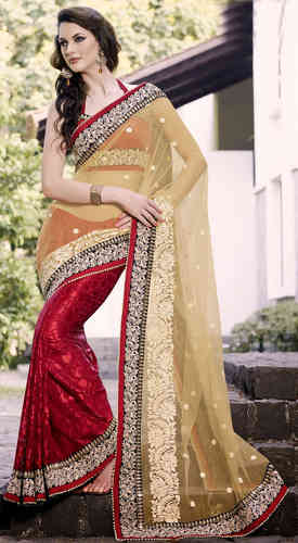 Red Net and Faux Georgette Brasso Saree (IN10D22RTS)