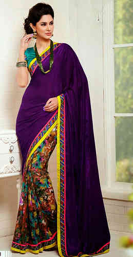 Purple Faux Georgette And Crepe Saree