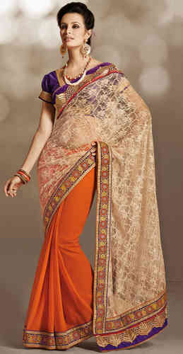 Beige and Orange Net Saree