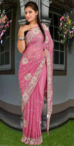 Pink Faux Shimmer Georgette Embroidered Saree