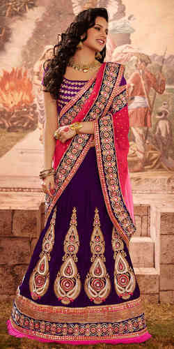 Purple Viscose and Velvet Lehenga Style Saree