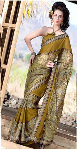 Olive Green Faux Georgette Saree (US458RTS)