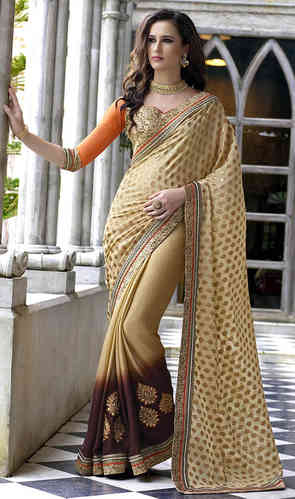 Beige and Brown Faux Georgette Jacquard Saree