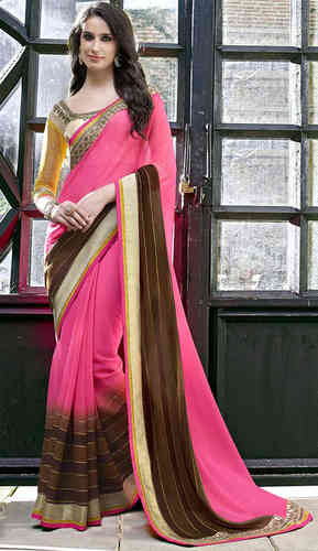 Light Pink And Brown Faux Chiffon Saree