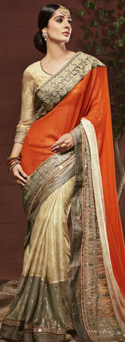Rust and Beige Georgette Saree