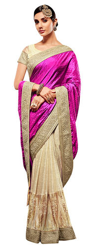 Magenta and Beige Art Silk and Lycra Saree