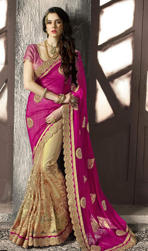 Pink And Beige Faux Georgette and Net Designer Saree
