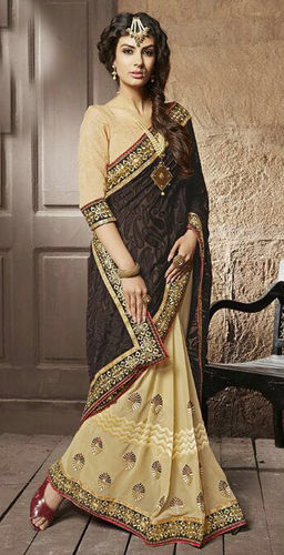 Brown And Beige Faux Georgette Brasso Saree