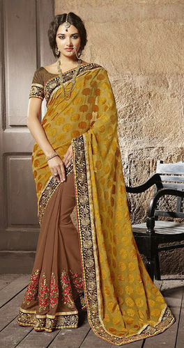 Brown And Mustard Faux Georgette Brasso Saree