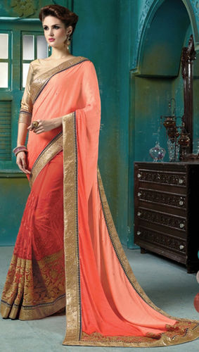 Peach And Rust Faux Georgette Embroidered Saree