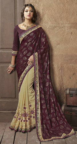 Brown Faux Georgette Brasso Saree
