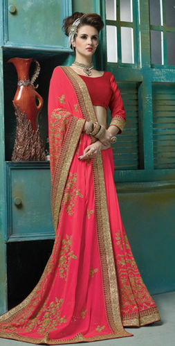 Dark Pink Viscose Georgette Embroidered Saree