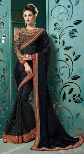 Black Chiffon And Net Embroidered Saree