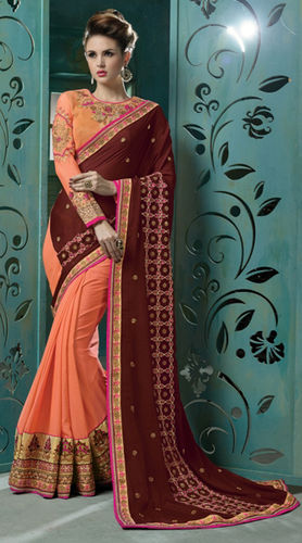 Brown And Peach Chiffon Embroidered Saree