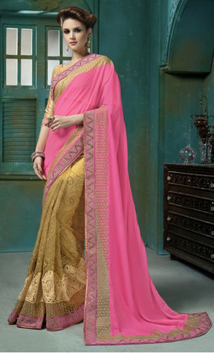 Pink And Beige Georgette Embroidered Saree