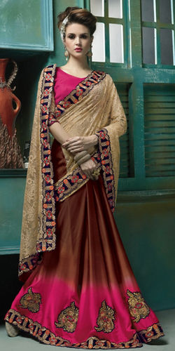 Beige Brown Net And Sattin Saree