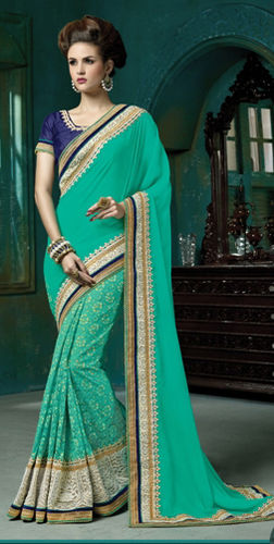 Teal Green Net And Faux Georgette Embroidered Saree