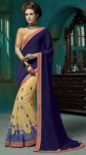 Navy Blue Faux Georgette And Net Embroidered Saree